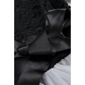Wedding Bowknot Embellished Lace Spliced ​​Dress - Noir et Gris S