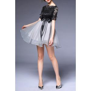 Bowknot Embellished Lace Spliced Dress - BLACK/GREY XL