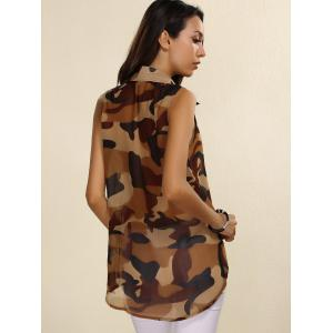 Fashionable Shirt Collar Sleeveless Camouflage Print See-Through Top For Women -