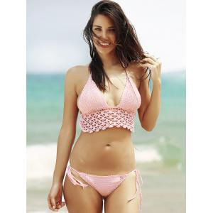 Halter Cut Out Crochet Bathing Suit - PINK L