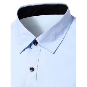 Simple Men's Turn-Down Collar Solid Color Short Sleeve Shirt -