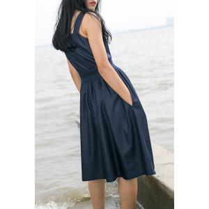 Square Neck Pleated Solid Color Sleeveless Dress -