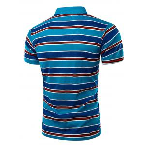 Stylish Men's Turn-Down Collar Striped Print Short Sleeve Polo T-Shirt -