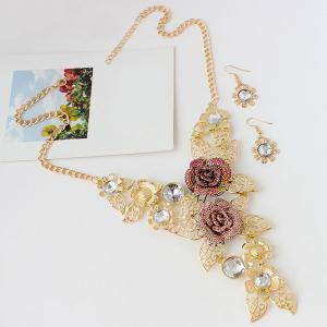 A Suit of Hollow Out Rose Leaf Faux Gem Necklace and Earrings -
