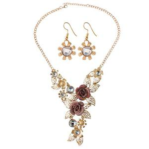 A Suit of Hollow Out Rose Leaf Faux Gem Necklace and Earrings - Golden - One-size