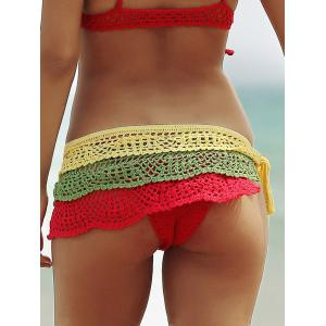 Color Block Layered Crochet Skirted Bathing Suit Bottom - COLORFUL S