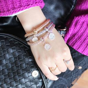 Chic Multilayer Rhinestone Round Charm Bracelet For Women - COLORMIX