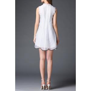 Stand Neck Butterfly Embroidery Organza Dress -