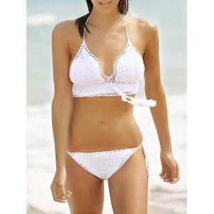 Chic Halter Hollow Out Pure Color Fringed Crochet Women's Bikini Set - White - S