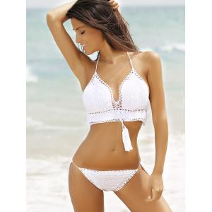 Chic Halter Hollow Out Pure Color Fringed Crochet Women's Bikini Set - WHITE L