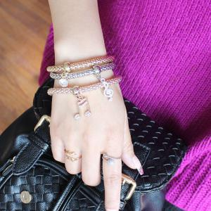 Chic Multilayer Rhinestone Musical Notation Charm Bracelet For Women - COLORMIX