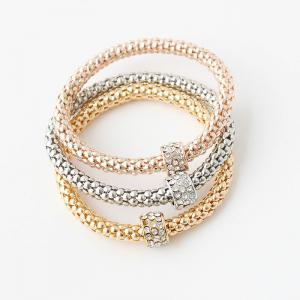 Chic Multilayer Rhinestone Circle Charm Bracelets For Women - Colormix - One-size