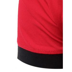 Casual Men's Turn-Down Collar Color Block Short Sleeve Polo T-Shirt -