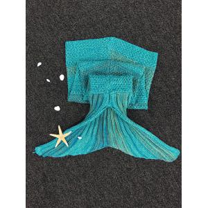 Fashion Stripe Knitted Mermaid Tail Design Blanket For Kids - COLORMIX