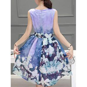 Sweet Scoop Neck Sleeveless Floral Print Pleated Dress For Women - PURPLE XL
