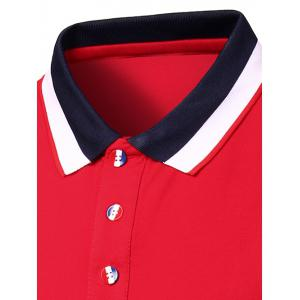 Stylish Men's Turn-Down Collar Color Block Short Sleeve Polo T-Shirt -