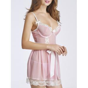 Stylish Strappy Lace Panelled Tie Babydoll For Women -