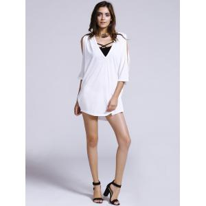 Women's Chic Plunging Neck Pure Color Cut Out Loose Bat Sleeve T-Shirt -