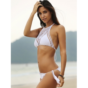 Halter Hollow Out Crochet Bathing Suit - WHITE L