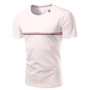 Trendy Men's Round Neck Striped Printed Short Sleeve T-Shirt