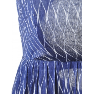 Fashionable Slimming Plunging Neck Mid Calf Midi Dress For Women - BLUE/WHITE S