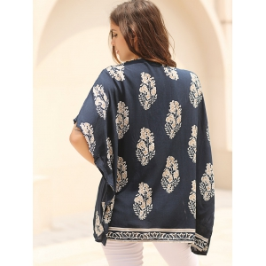 Fashionable Floral Print 3/4 Sleeve Kimono Cardigan For Women - BLUE L