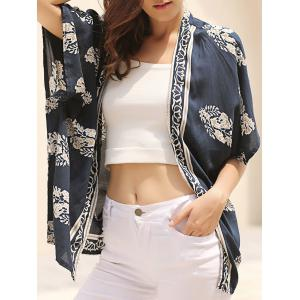 Fashionable Floral Print 3/4 Sleeve Kimono Cardigan For Women - Blue - S