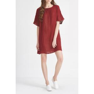 Solid Color A Line Linen Dress -