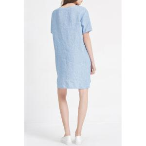 Front Pocket Linen Mini Dress -