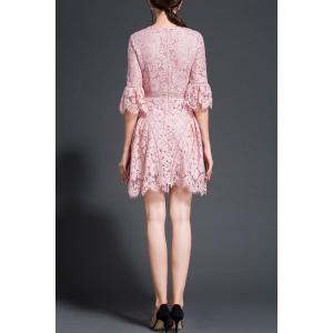Flare Sleeve Floral Pattern Lace Dress -