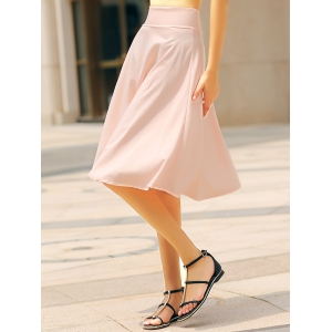 High Waisted A Line Midi Skirt - PINK S