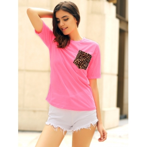 Stylish Round Neck Short Sleeve Leopard Print Women's T-Shirt - JACINTH M