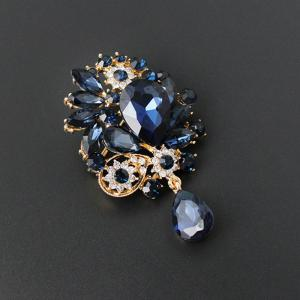 Rhinestone Faux Crystal Water Drop Brooch -