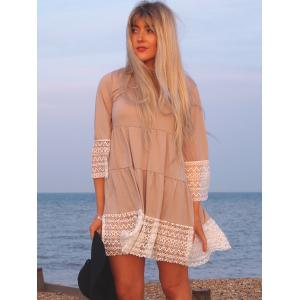 Casual U-Neck 3/4 Sleeve Loose-Fitting Lace Splicing  Women's Dress -