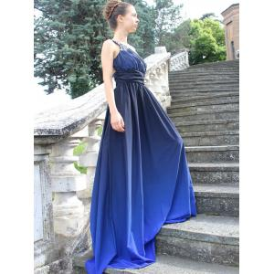 Rhinestone One Strap Ombre Evening Formal Dress - DEEP BLUE L