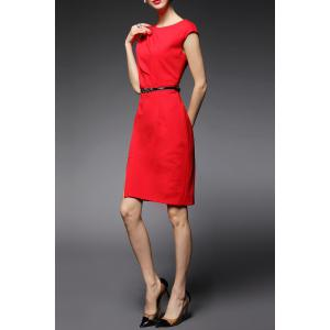 Jewel Neck Sheath Work Dress -