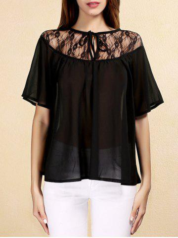 Sale Sweet Keyhole Neck Short Sleeves Lace Up Chiffon Blouse For Women