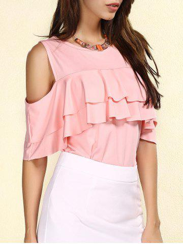 Store Stylish Jewel Neck Cut Out Flounce T-Shirt For Women