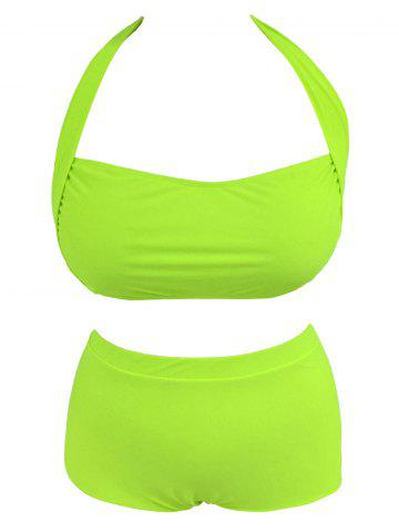 Fashion High Waist Plus Size Halter Top Bikini NEON GREEN 4XL