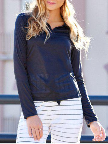 Casual Polo Collar Long Sleeves Solid Color T-Shirt For Women - DEEP GRAY M