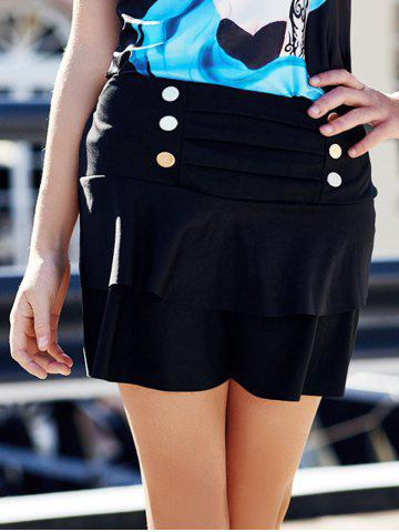 Affordable Stylish High-Waisted Multi-Layered Button Design Women's Skirt - ONE SIZE(FIT SIZE XS TO M) BLACK Mobile