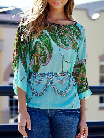 Stylish Scoop Neck Batwing Sleeve Printed Loose-Fitting Chiffon Blouse For Women - L