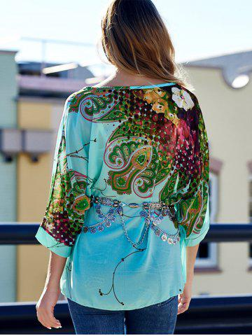 Shops Stylish Scoop Neck Batwing Sleeve Printed Loose-Fitting Chiffon Blouse For Women - XL COLORMIX Mobile