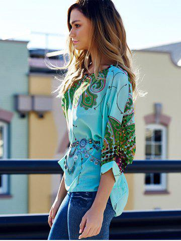 Best Stylish Scoop Neck Batwing Sleeve Printed Loose-Fitting Chiffon Blouse For Women - XL COLORMIX Mobile