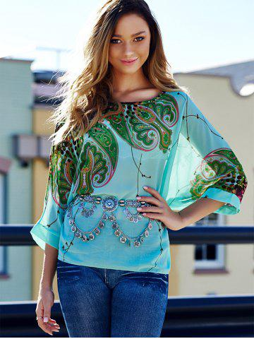 Fancy Stylish Scoop Neck Batwing Sleeve Printed Loose-Fitting Chiffon Blouse For Women - XL COLORMIX Mobile