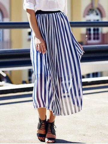 Store High Waist Vertical Striped Maxi Skirt - ONE SIZE CADETBLUE Mobile