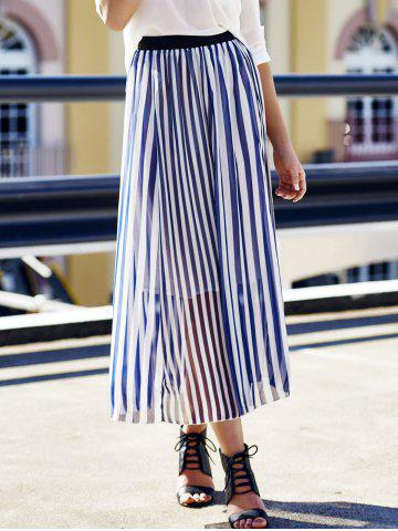 New High Waist Vertical Striped Maxi Skirt - ONE SIZE CADETBLUE Mobile