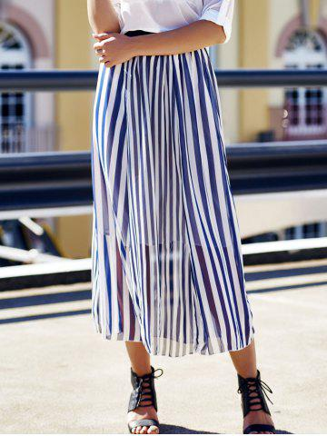 Affordable High Waist Vertical Striped Maxi Skirt - ONE SIZE CADETBLUE Mobile
