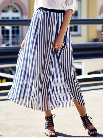 Cheap High Waist Vertical Striped Maxi Skirt