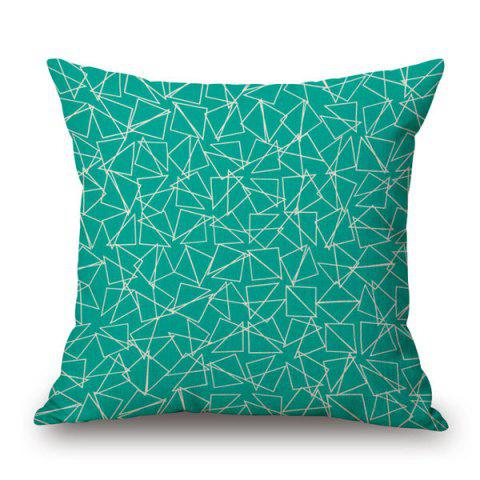 Unique Contemporary Geometry Pattern Cotton and Linen Pillow Case - VERDIGRIS  Mobile
